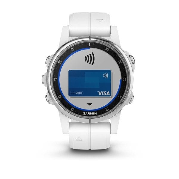 fēnix® 5S Plus Sapphire, White with Gray Suede Band